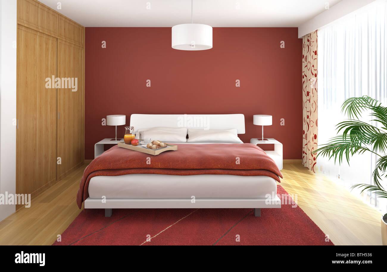 Superbe Design Intérieur De La Chambre à Coucher Moderne En Bois Blanc Et Rouge  Avec Une Grande Fenêtre Sur Le Droit