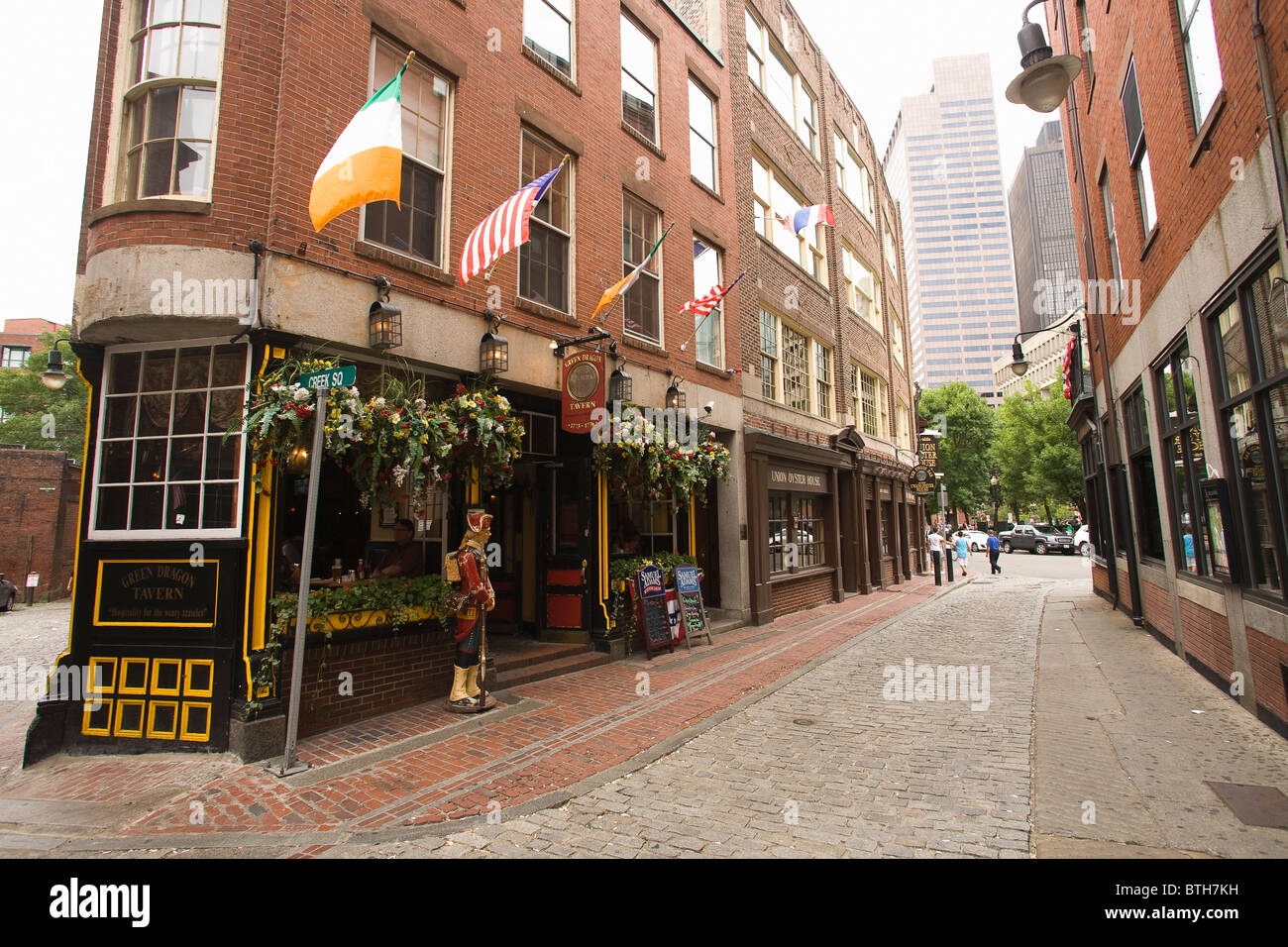 Cobblestone Street dans le centre-ville de Boston, Massachusetts Photo Stock