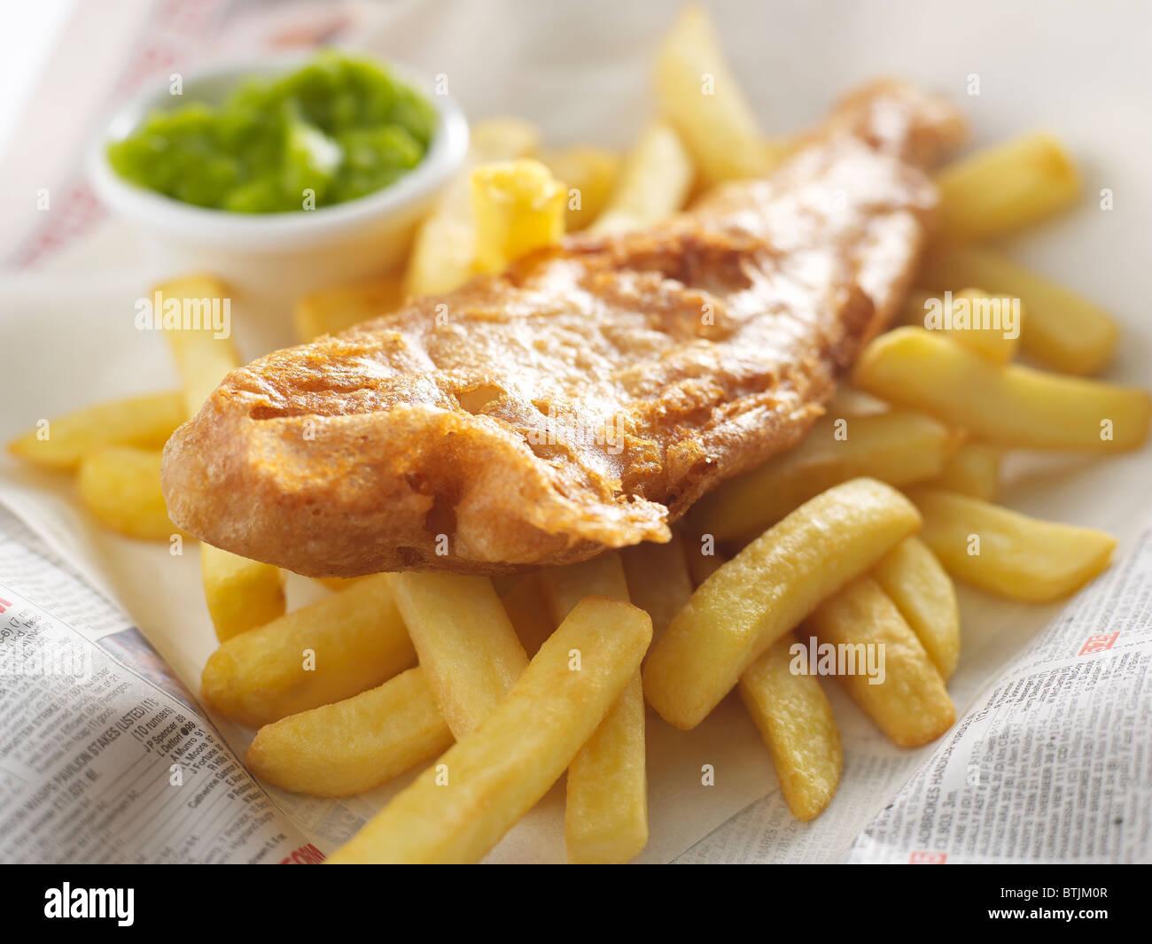 Poisson et frites à emporter Photo Stock