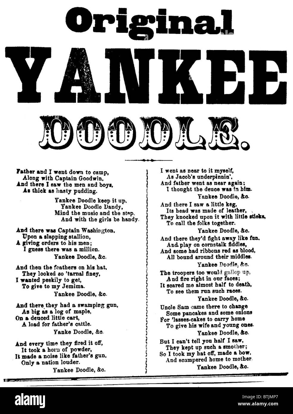 Yankee Doodle, patriotic American song lyric, feuille, circa 1880. Photo Stock