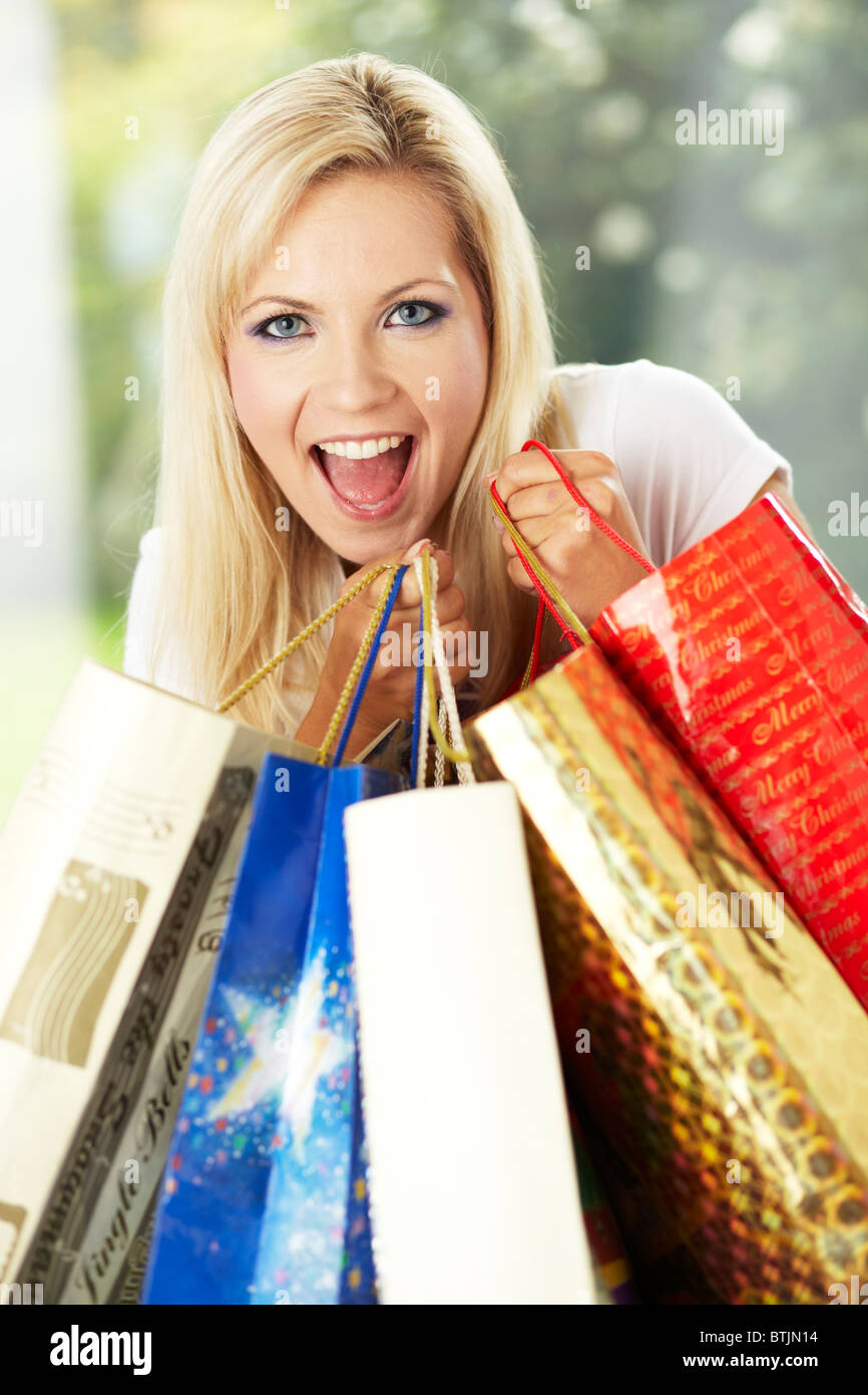 Girl with shopping bags Photo Stock