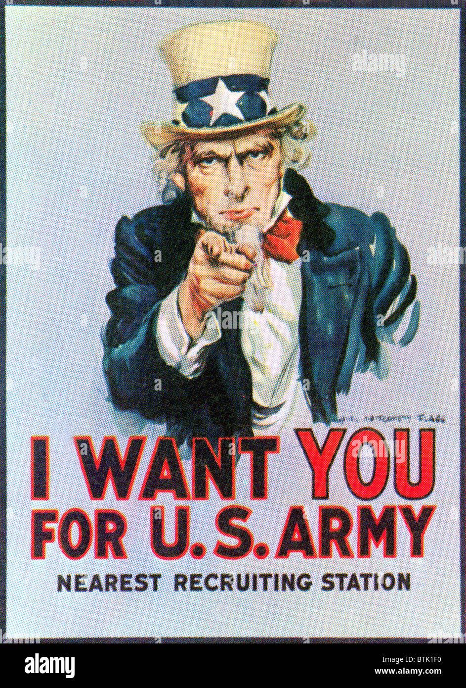 """Oncle Sam """"je veux vous affiche de recrutement de l'Armée' de la Première Guerre mondiale Photo Stock"""