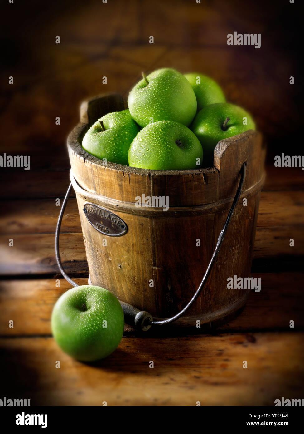 Pommes Granny Smiths frais Photo Stock