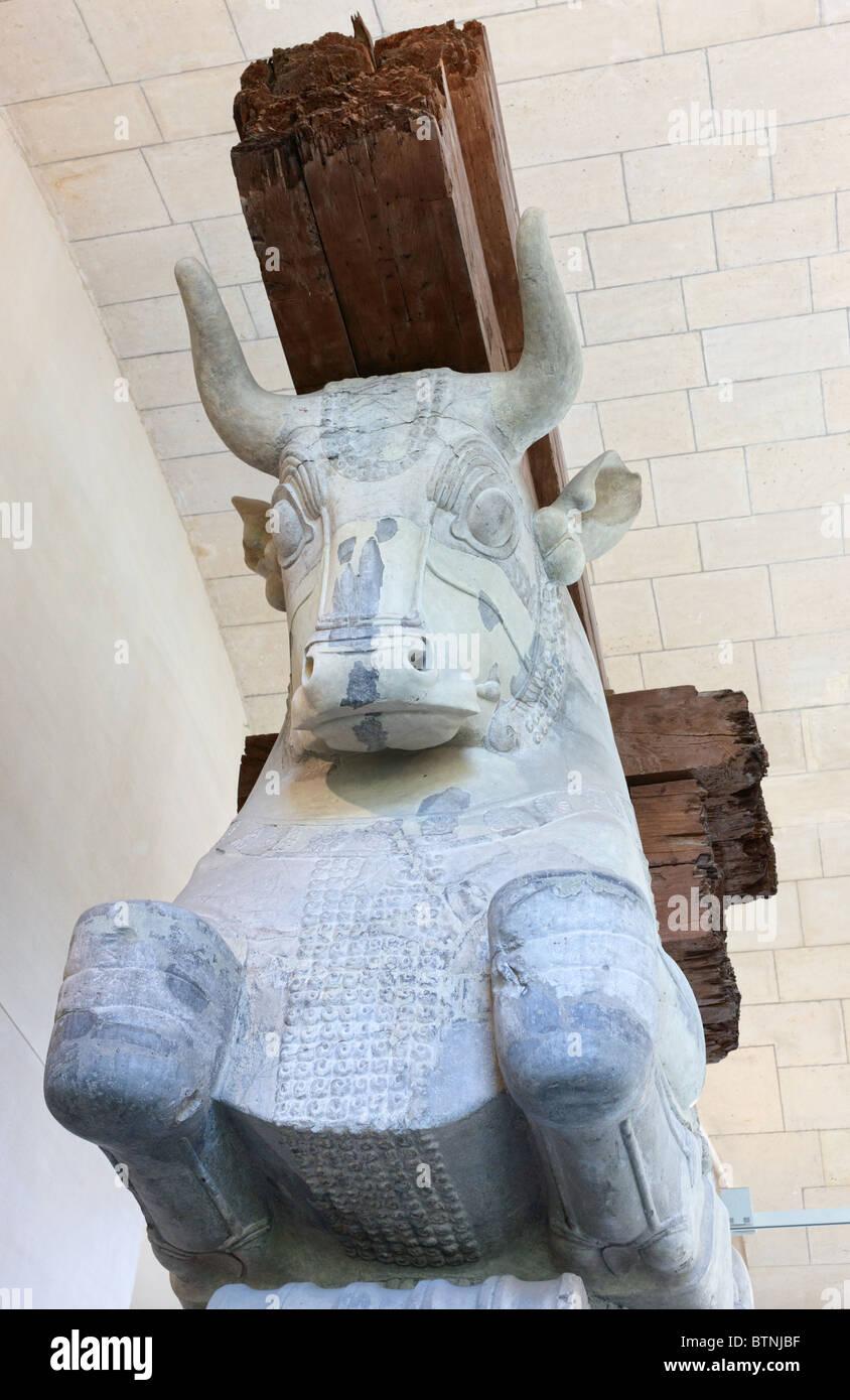 Capital d'une colonne de l'Apadana (salle d'audience) du Palais de Darius I de Perse en Susa ca 510 Photo Stock