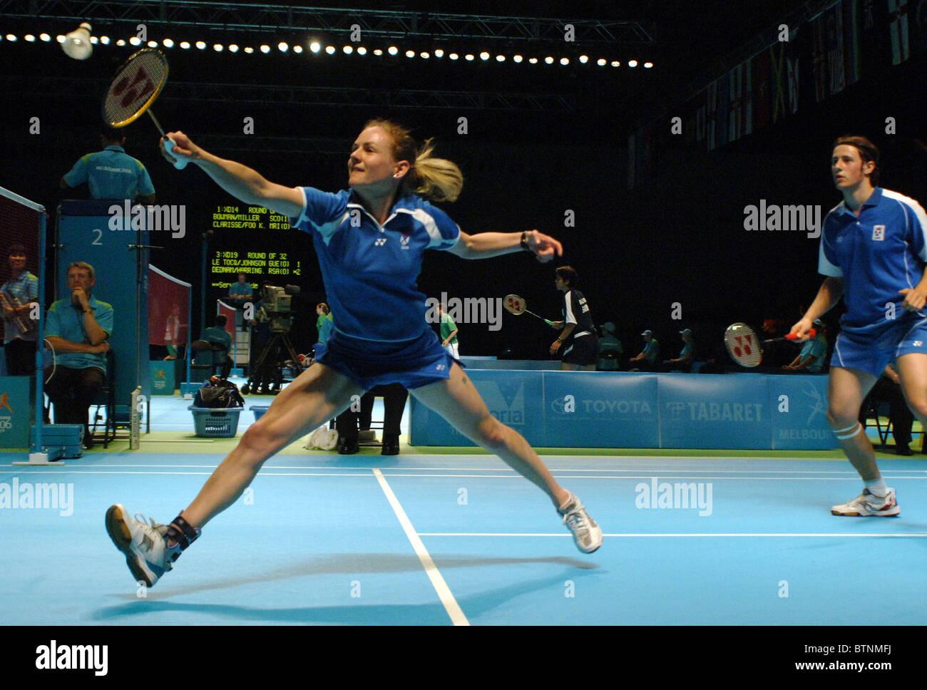 Badminton double mixte Banque D'Images
