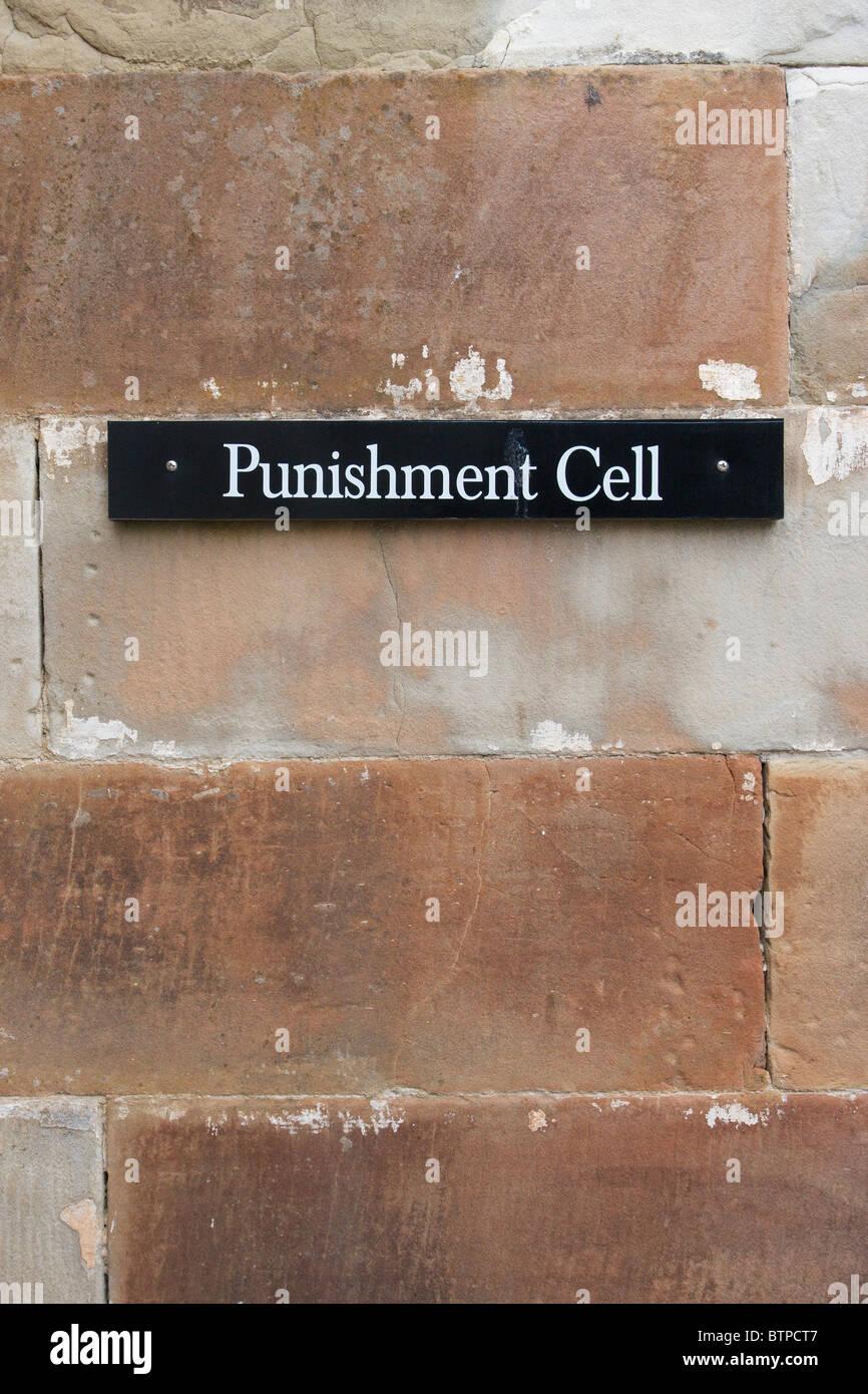 L'Australie, la Tasmanie, la péninsule de Tasman, Port Arthur, cellule de punition sign Photo Stock