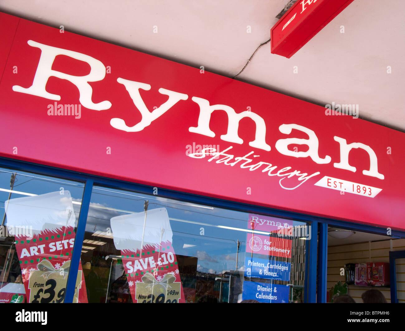 Signe et le logo papeterie Ryman Photo Stock