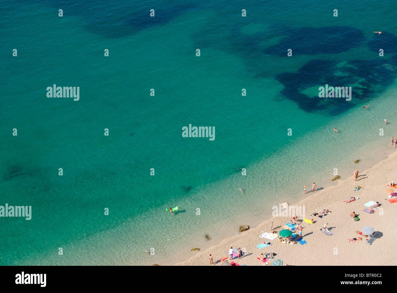 France, Villefranche-sur-mer, vue sur plage Banque D'Images
