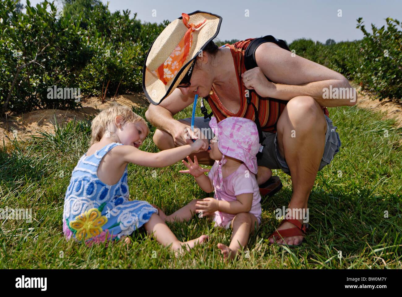 Femme au chapeau de paille en donnant ses nièces un verre dans un Patch de bleuets dans Harisson, Indiana Comté Banque D'Images