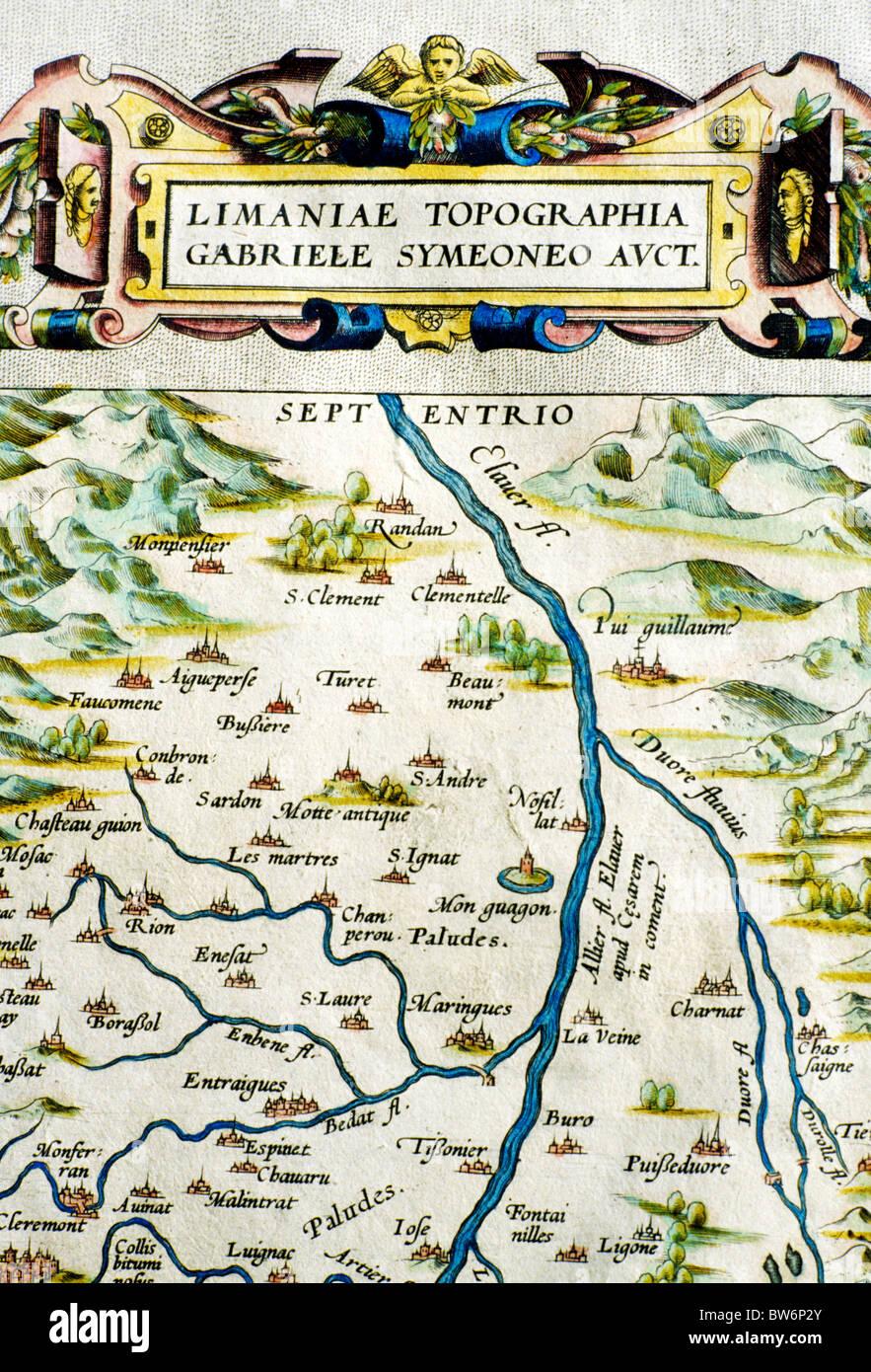 Theatrum Orbis Terrarum, 1570 par Abraham Ortelius, détail d'Auvergne, France Monde Antique vieille carte Photo Stock