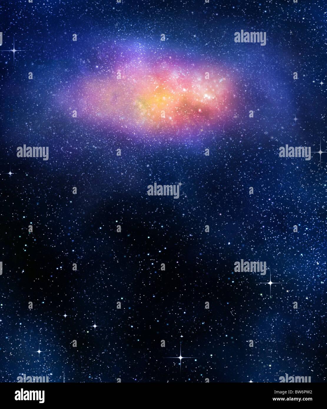 Fond étoilé d'étoiles et des nébuleuses dans l'espace profond Photo Stock