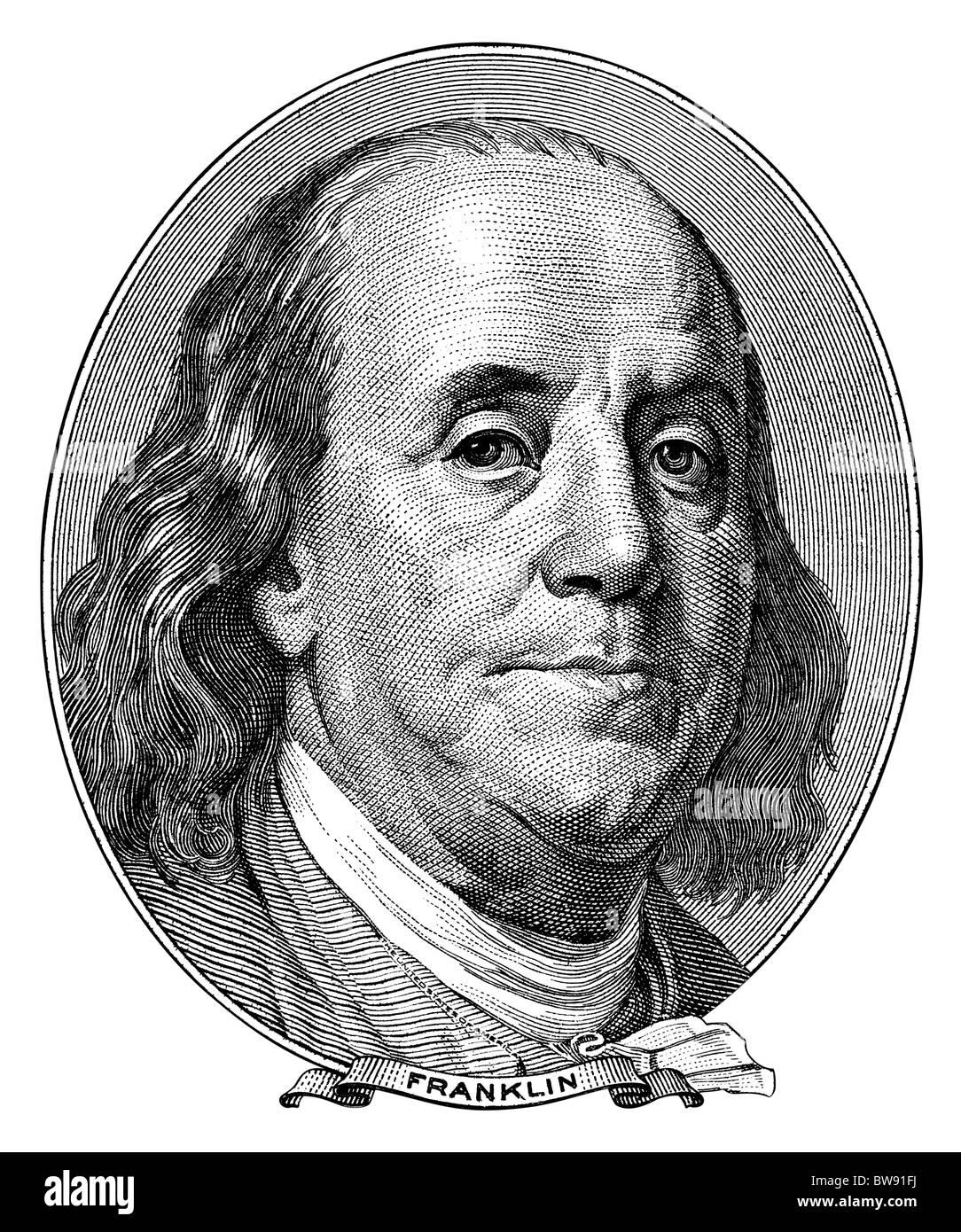 Portrait de Benjamin Franklin de one hundred dollar bill tourné en noir et blanc de la gravure. Taille d'origine Photo Stock