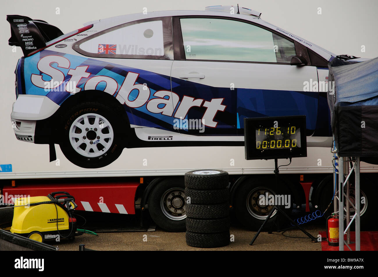Stobart motor sport truck rally team transports Photo Stock