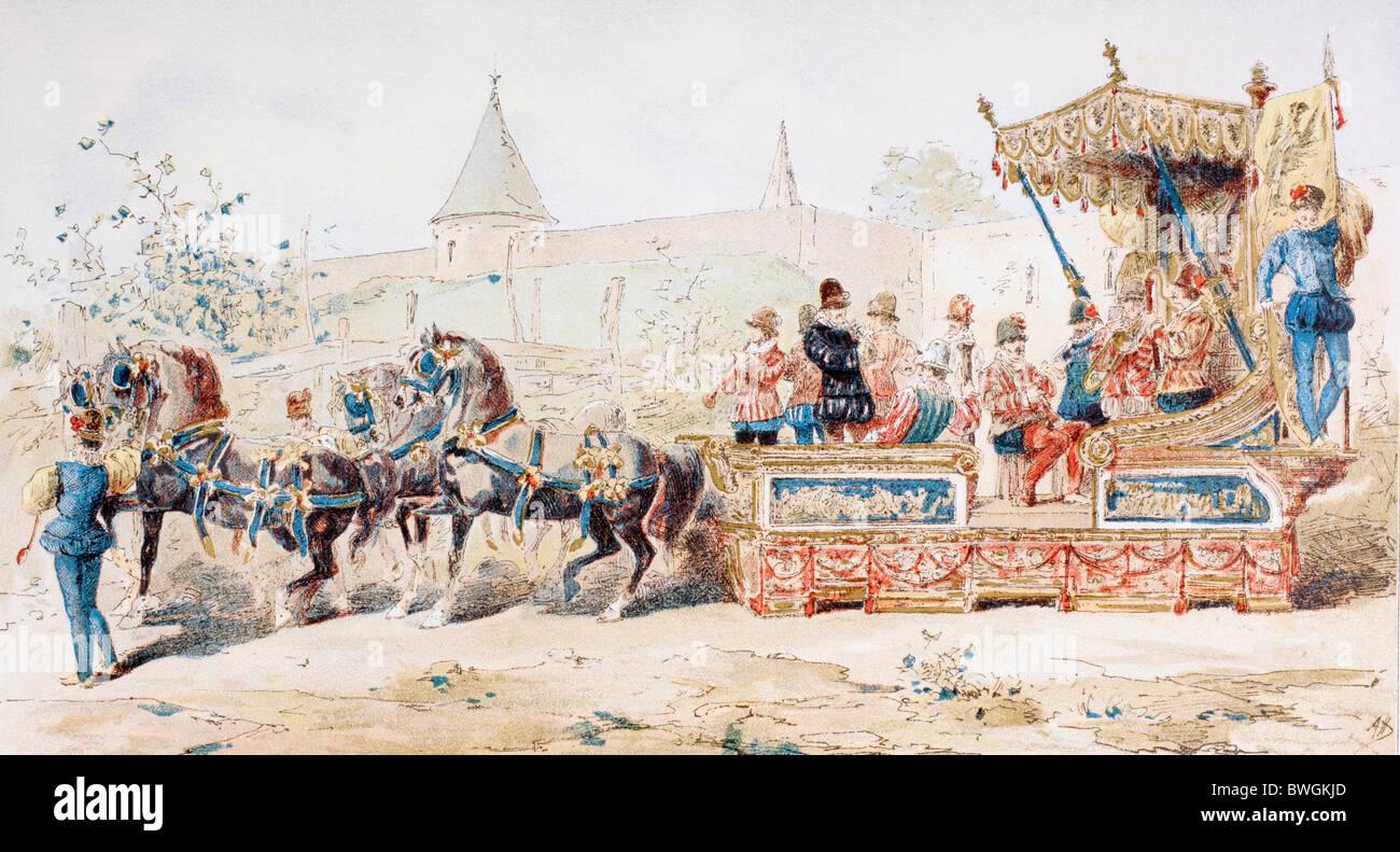 Cheval de chariot décoré transportant des musiciens professionnels. 16e siècle. Banque D'Images