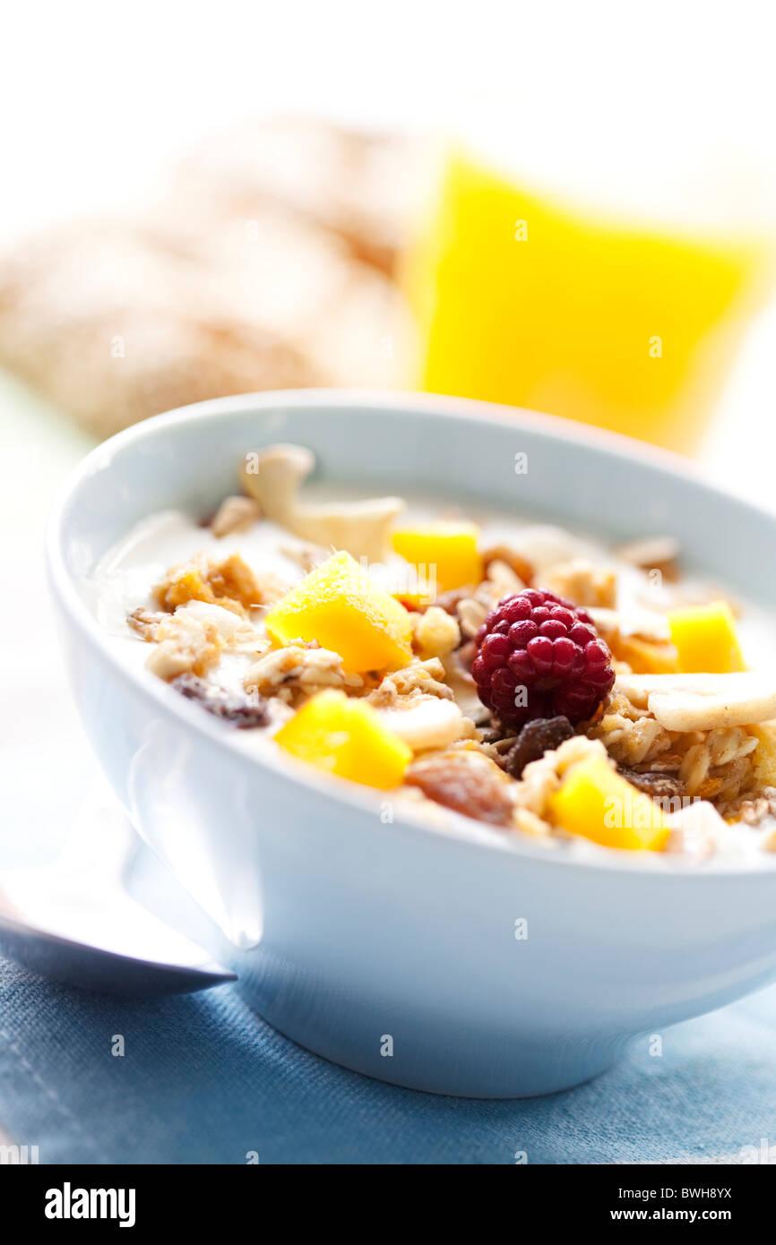 Le yaourt avec des céréales et des fruits Photo Stock