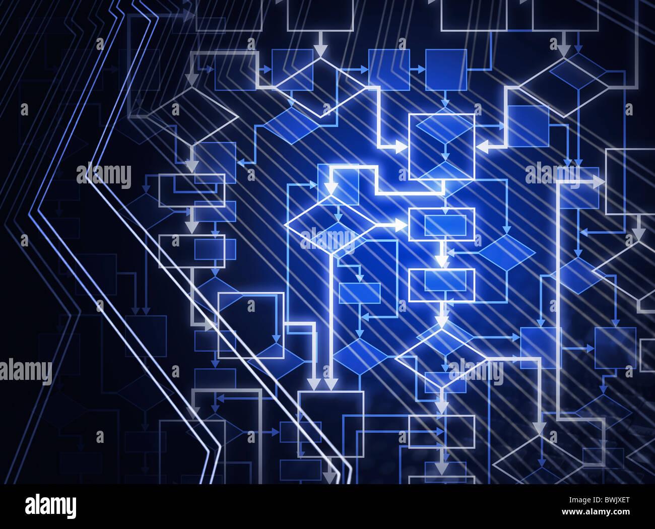 Organigramme numérique résumé fond bleu. Logiciels d'illustration conceptuelle de l'algorithme. Photo Stock