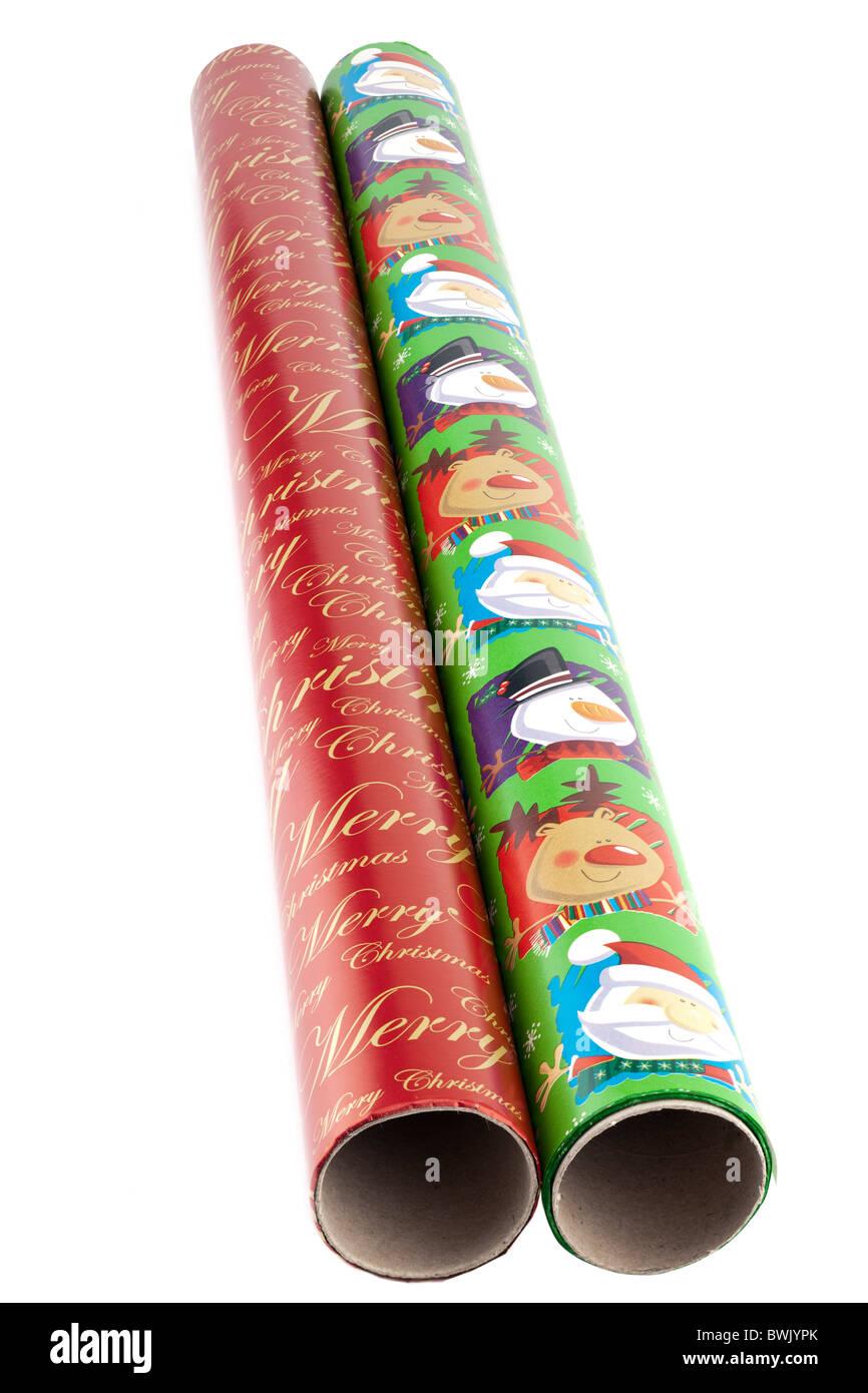 Deux rouleaux de papier d'emballage de Noël Photo Stock