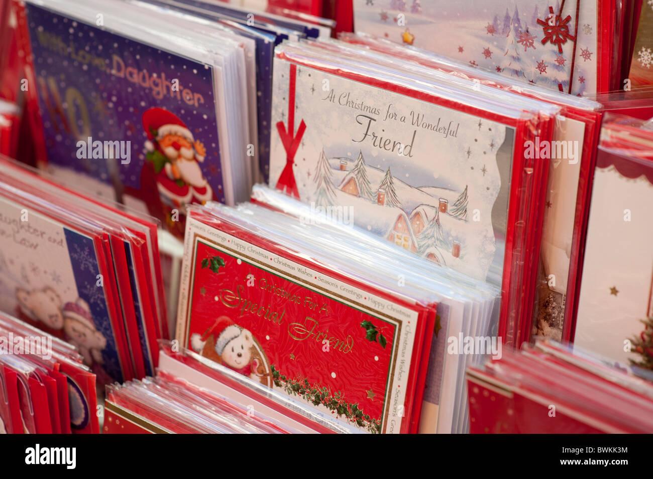 Des présentoirs de cartes de Noël pour la vente UK Photo Stock