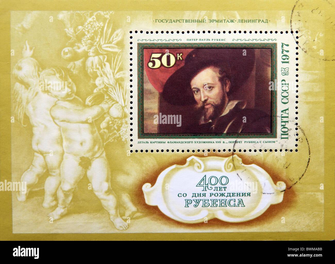 Urss - circa 1977: timbre-poste annoncé à l'occasion du 400e anniversaire de Pierre Paul Rubens Photo Stock