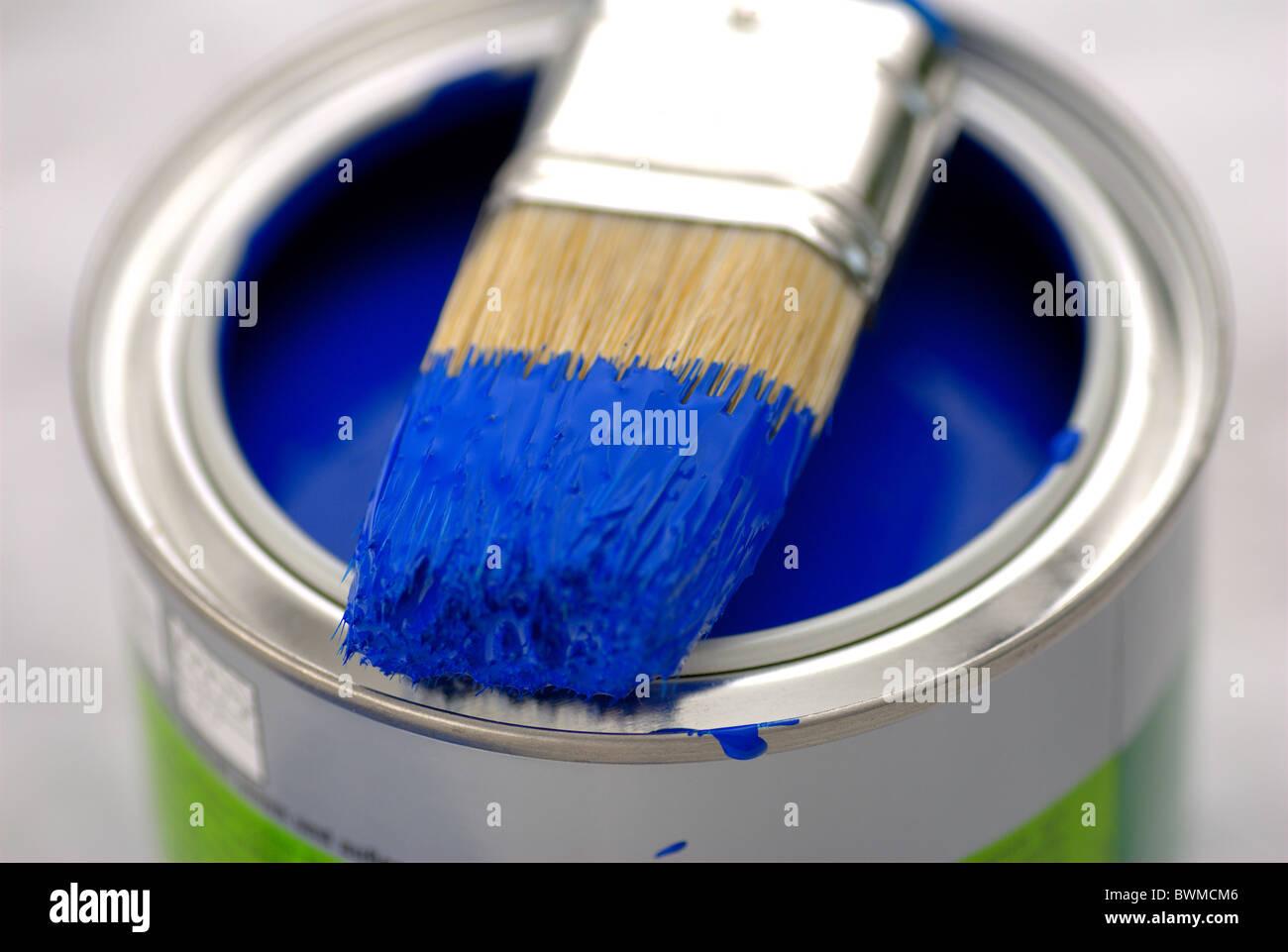 Artisanat Travail Outils Peinture Couleur Bleu Bleu Couleur Pinceau