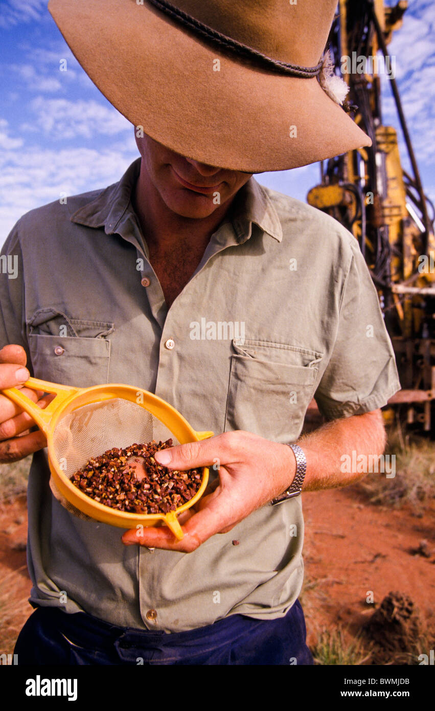 Géologue d'exploration minérale, de l'Australie Occidentale Photo Stock