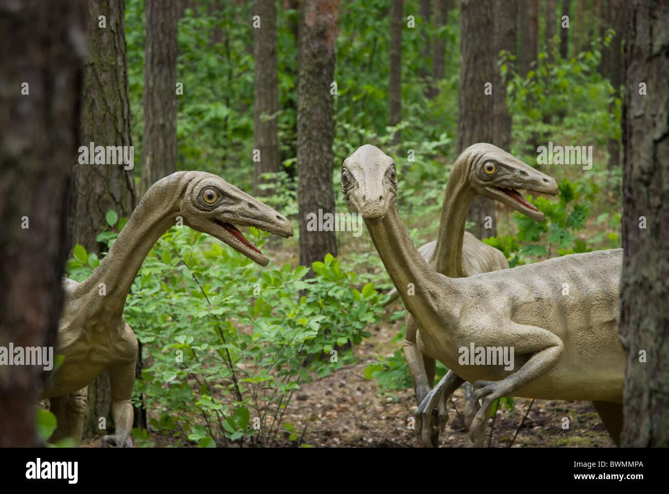 Les dinosaures dans le parc à thème dans le parc à thème Banque D'Images
