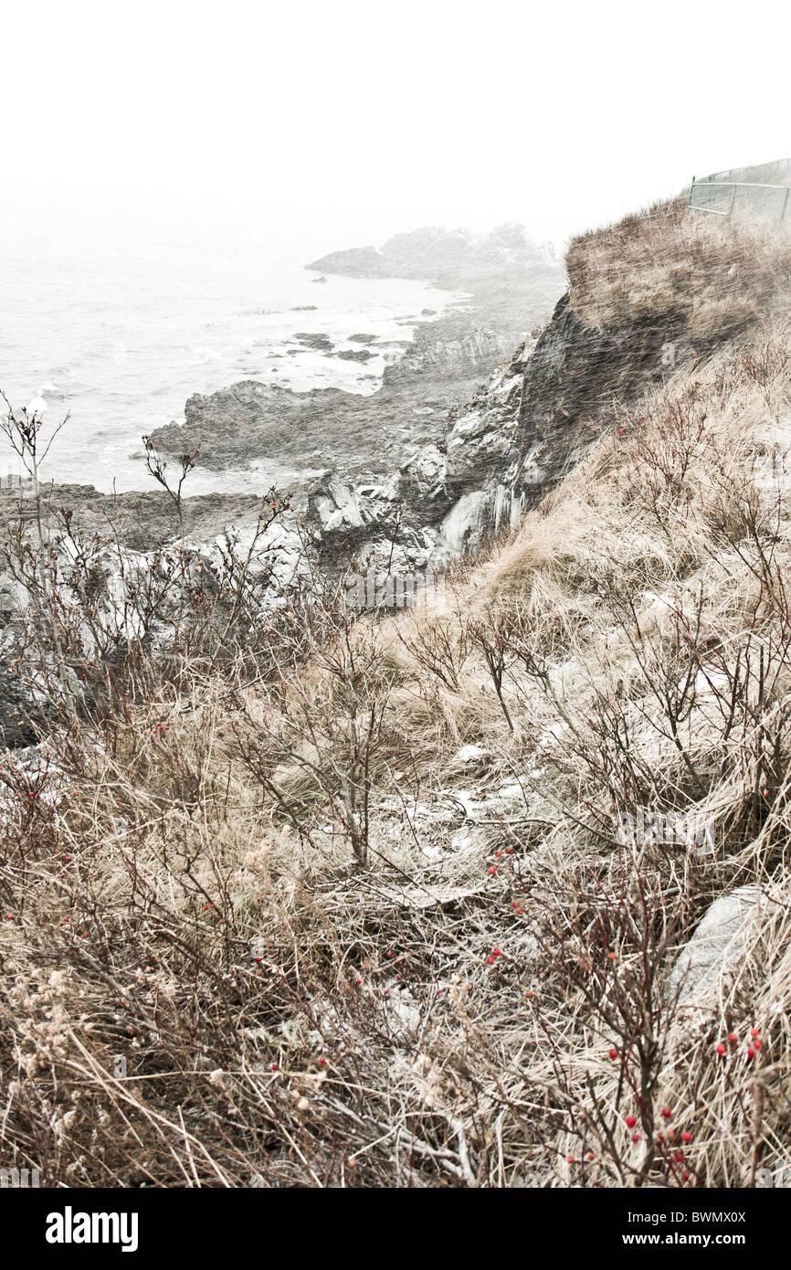 Plage de l'Atlantique Mer Maine USA Neige Hiver Météo Banque D'Images