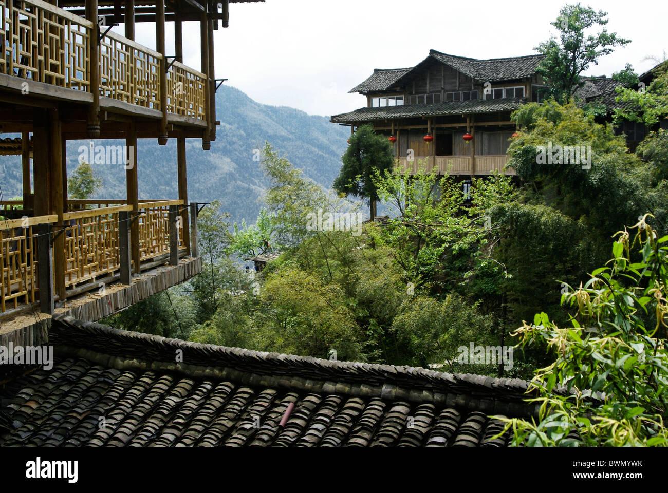 Guesthouses en Yao village de Ping'An, Guangxi, Chine Photo Stock