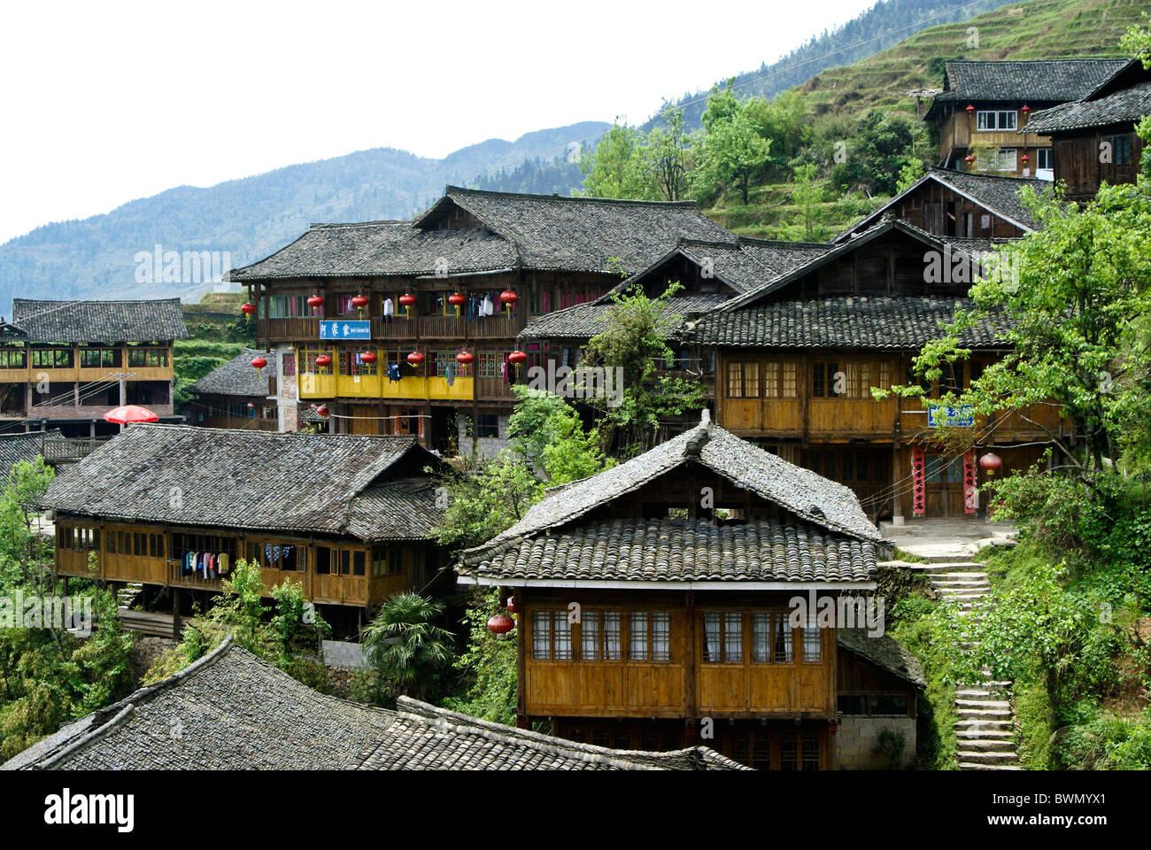 Yao village de Ping'An, Guangxi, Chine Photo Stock