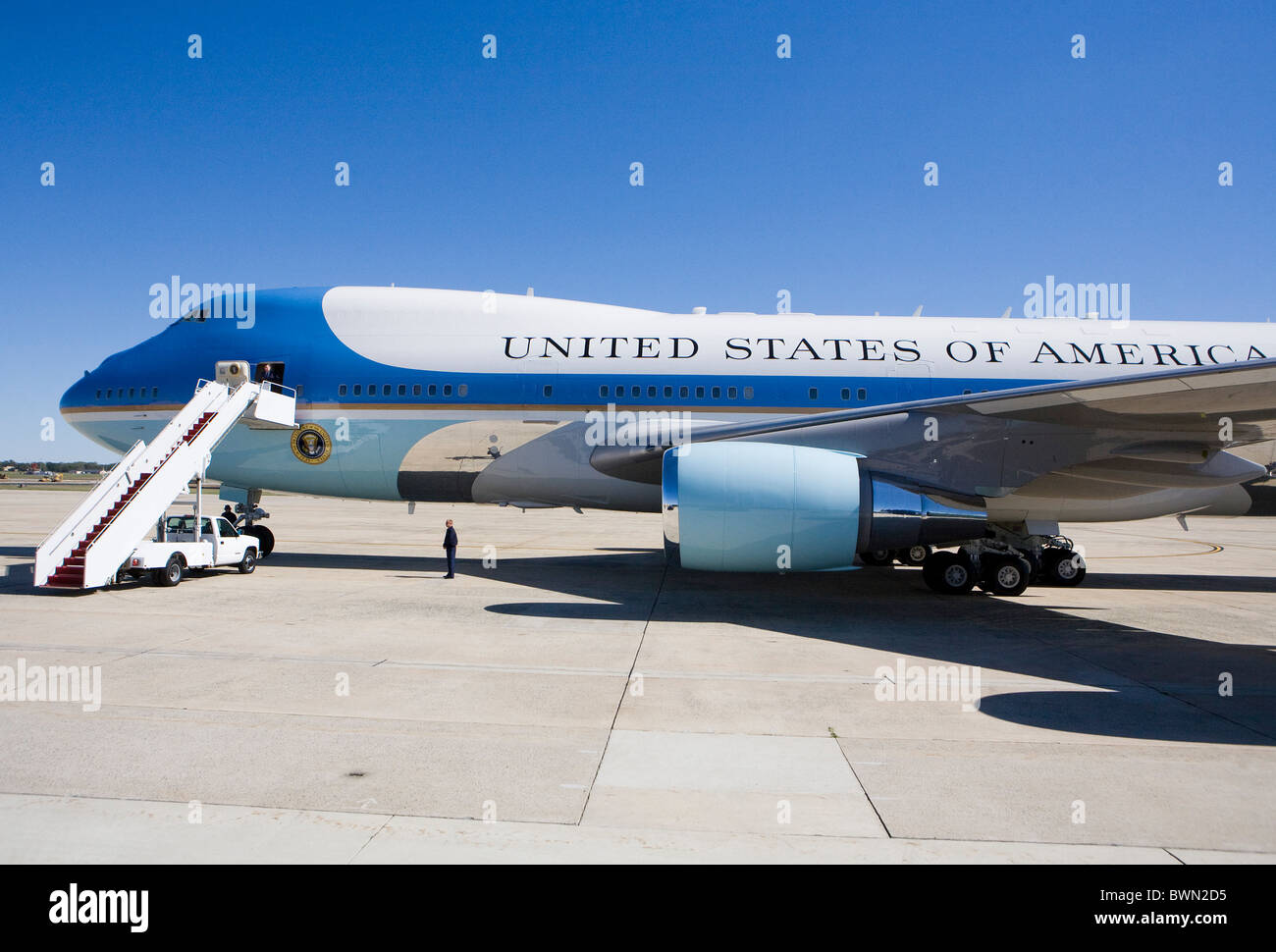Air Force One on the tarmac at Andrews Air Force Base Stock