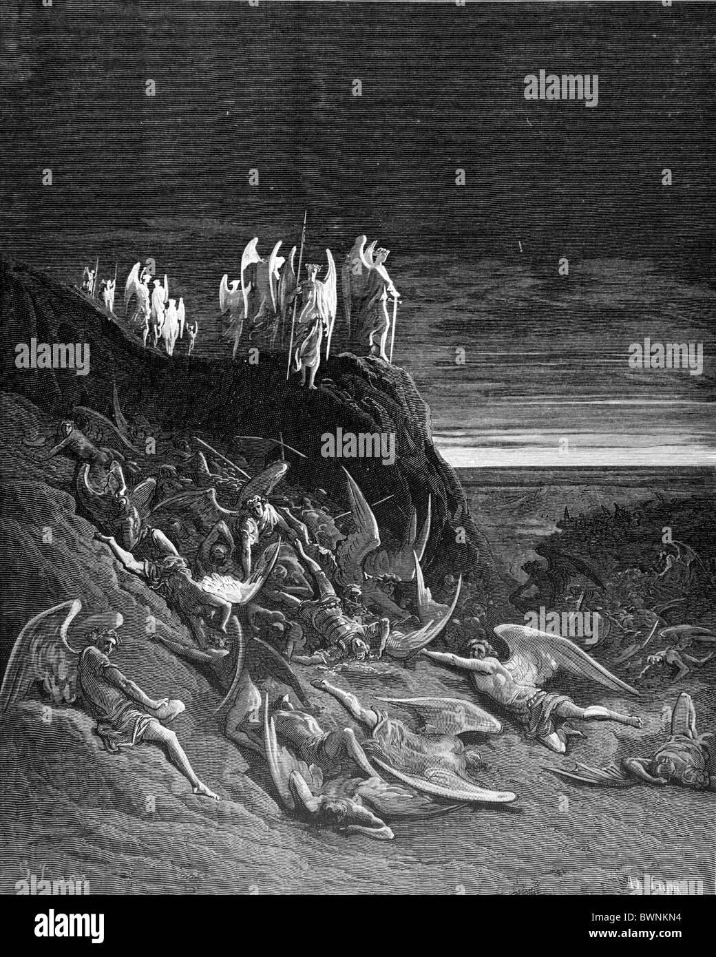 Gustave Doré, la guerre dans les Cieux du Paradis perdu de John Milton; la gravure en noir et blanc Photo Stock