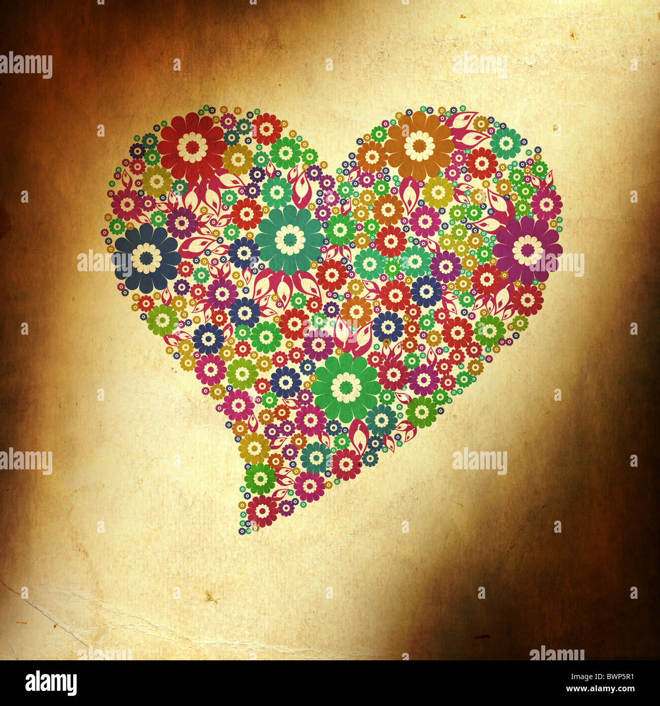 Grunge fond coloré avec coeur de fleur Photo Stock