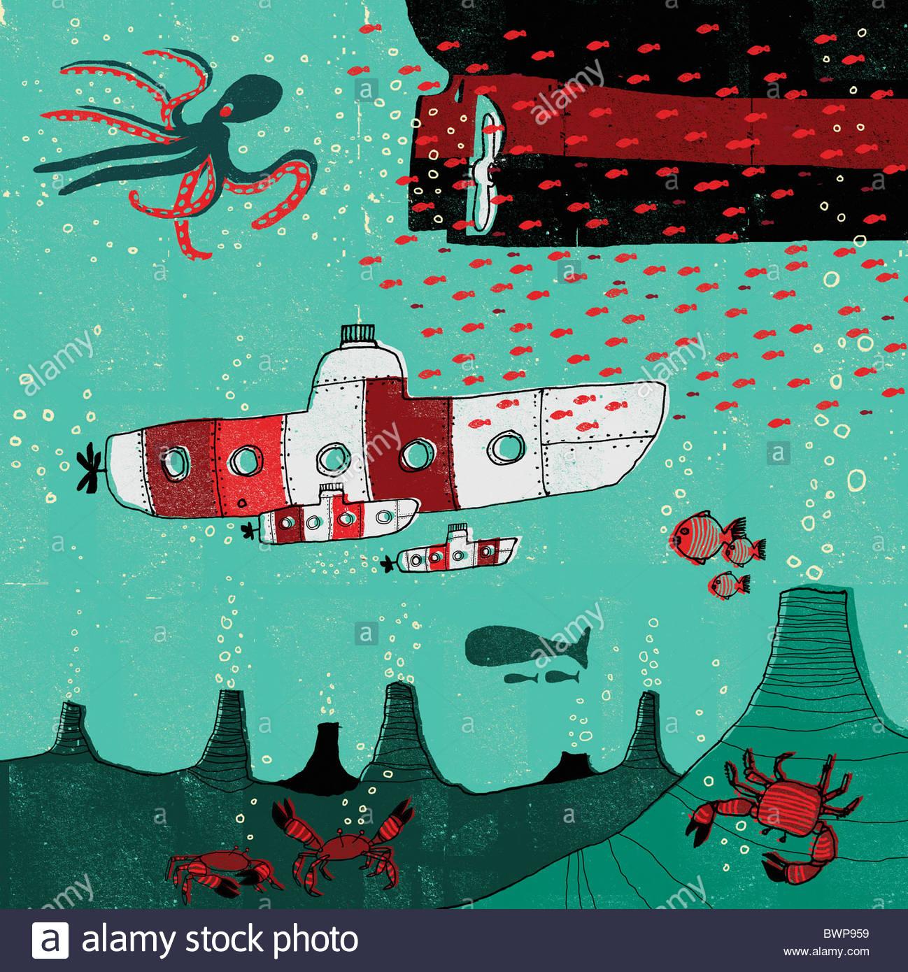 Sous l'océan en voyageant sous-marins Photo Stock