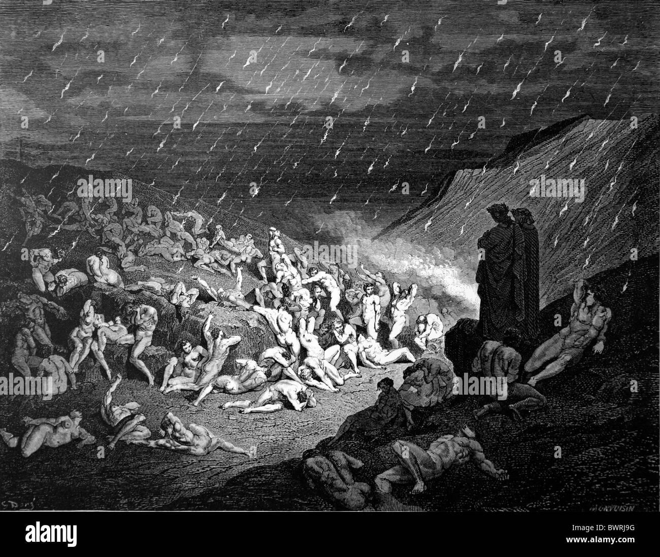Gustave Doré, la torture de la pluie de feu de la Divine Comédie de Dante Alighieri; gravure noir Photo Stock