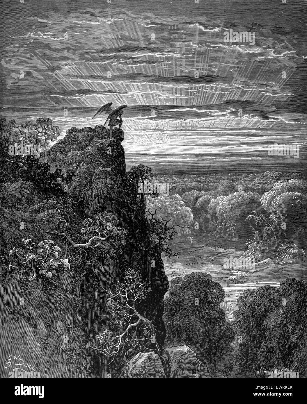 Gustave Doré; Satan OverlookingParadise de John Milton's Paradise Lost; gravure noir et blanc Photo Stock