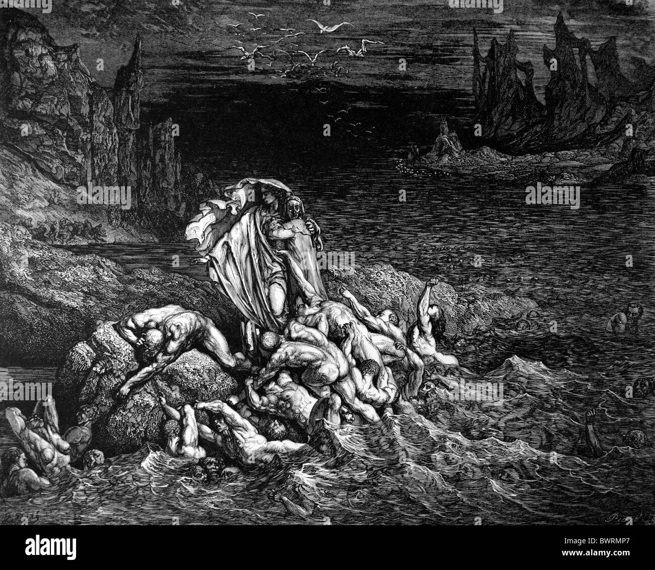 Gustave Doré; le lac Stygian dans le cinquième cercle de l'enfer de la Divine Comédie de Dante Alighieri; gravure Banque D'Images