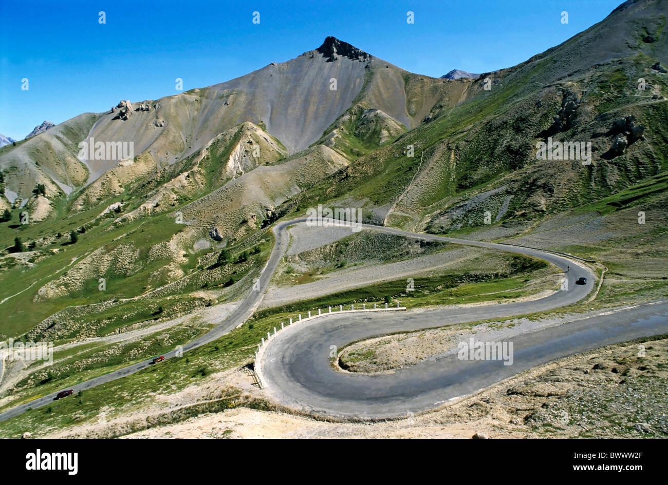 Alpes, Provence, France, le célèbre col d'Izoard / Izoard Pass mountain road Photo Stock