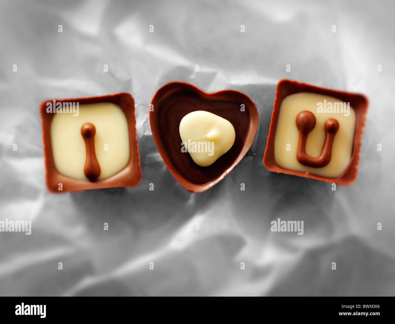 """""""I Love You"""" ou la Fête des mères, Saint Valentin Chocolats Photo Stock"""