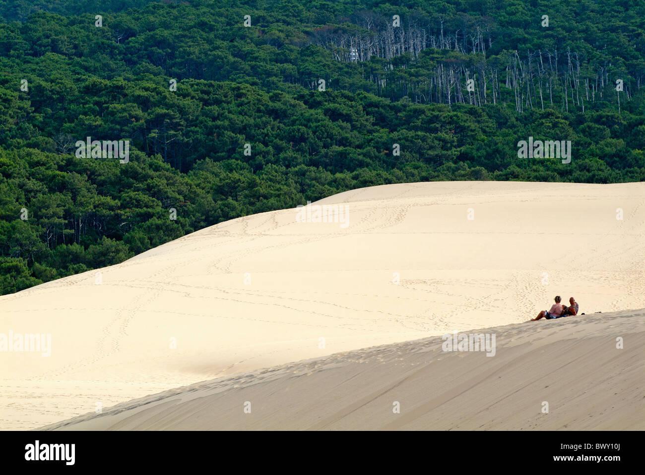 Les touristes assis sur la Dune du Pyla avec la forêt des Landes visible à l'arrière-plan, la Photo Stock