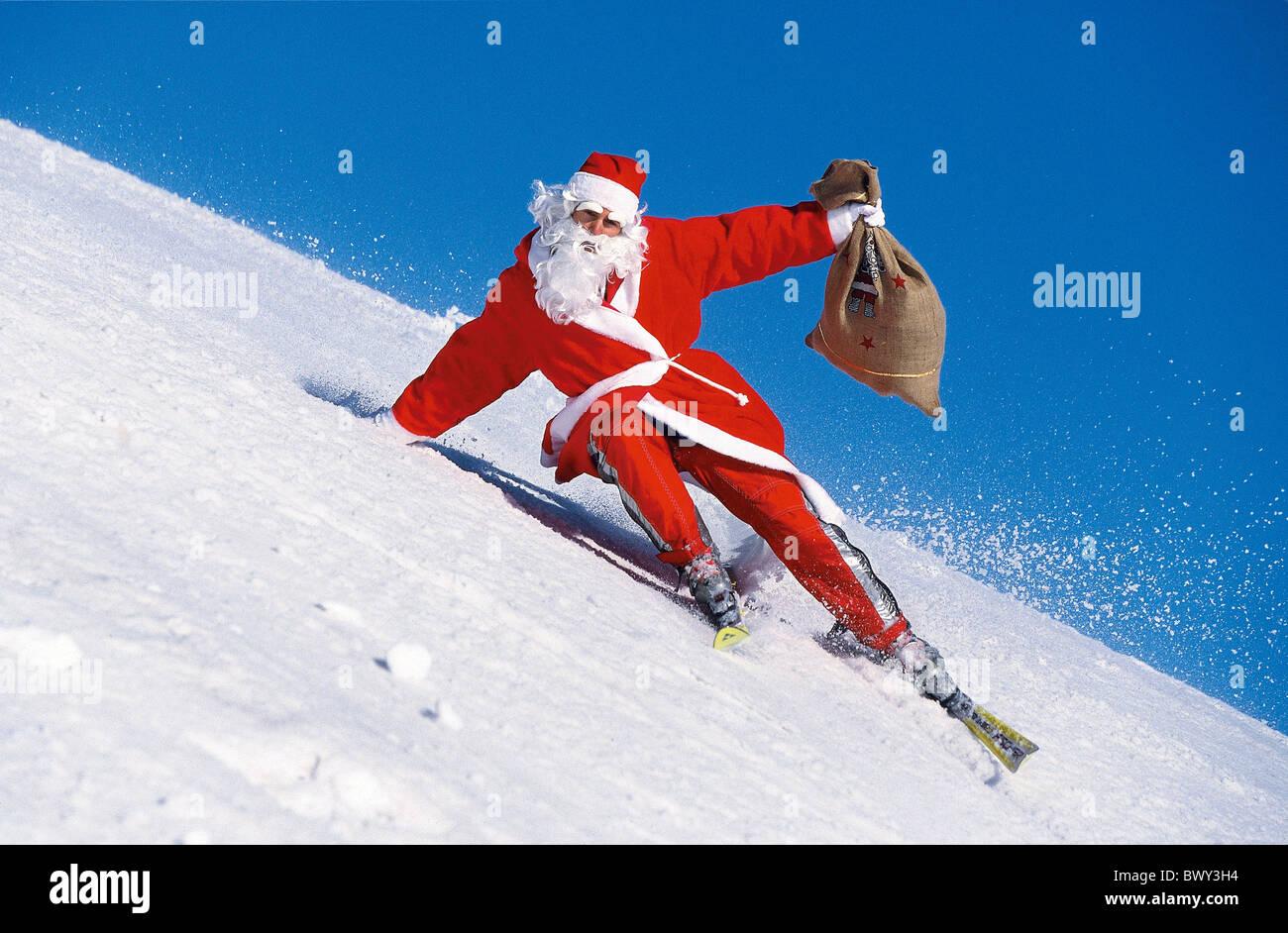 Image Pere Noel En Ski.Montagnes D Action Carvingski Pente Humour Amusant Costume