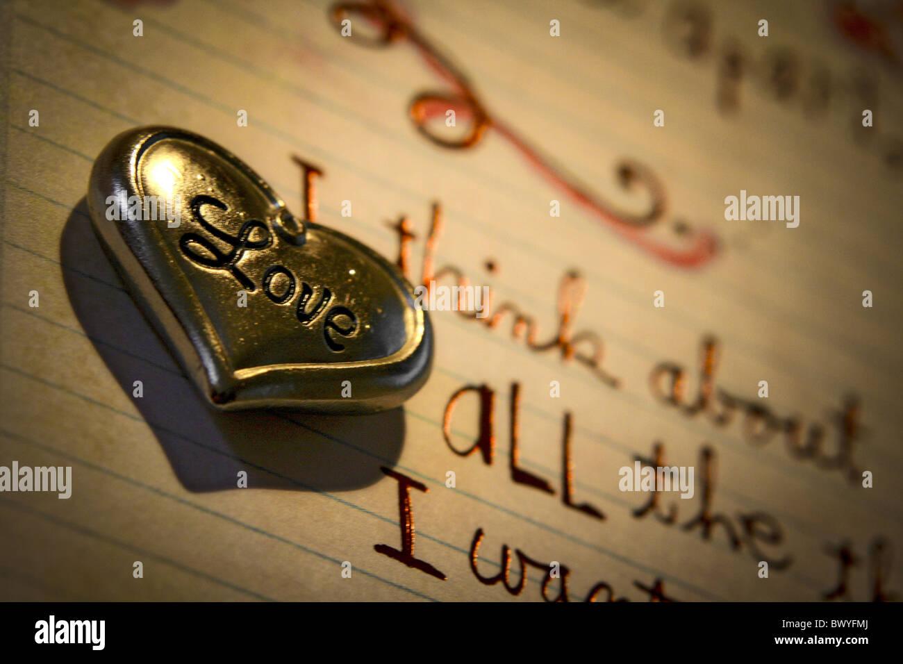 Lovelly cœur sur une carte postale Photo Stock