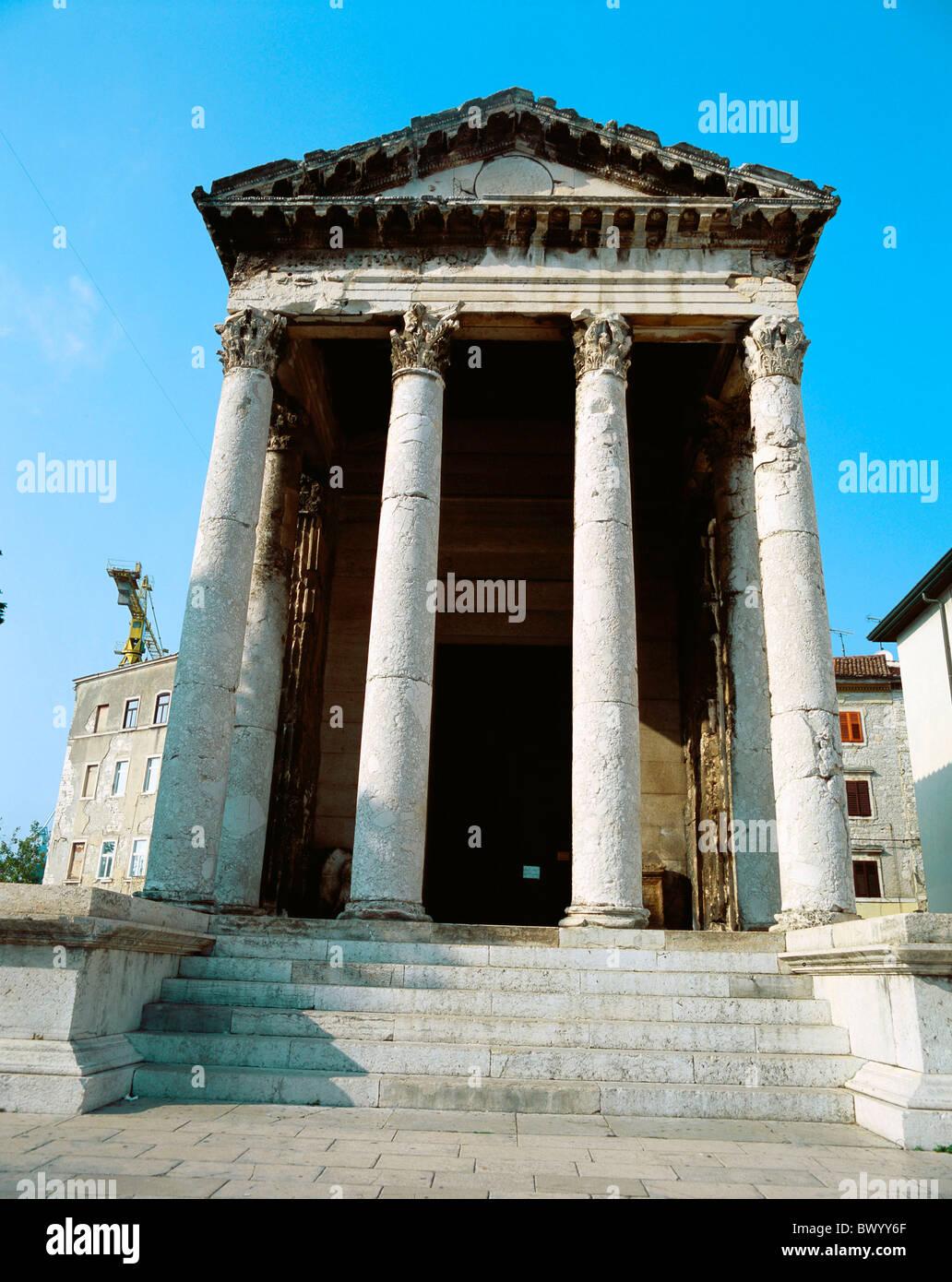 Antiquité l'antiquité Auguste temple building Istrie Croatie historique ville romaine romaine Pula Photo Stock