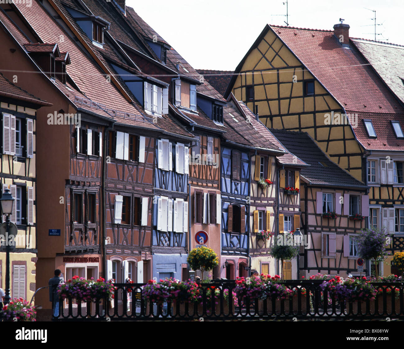 Colmar Alsace maisons à colombages France Europe terrasse Photo Stock