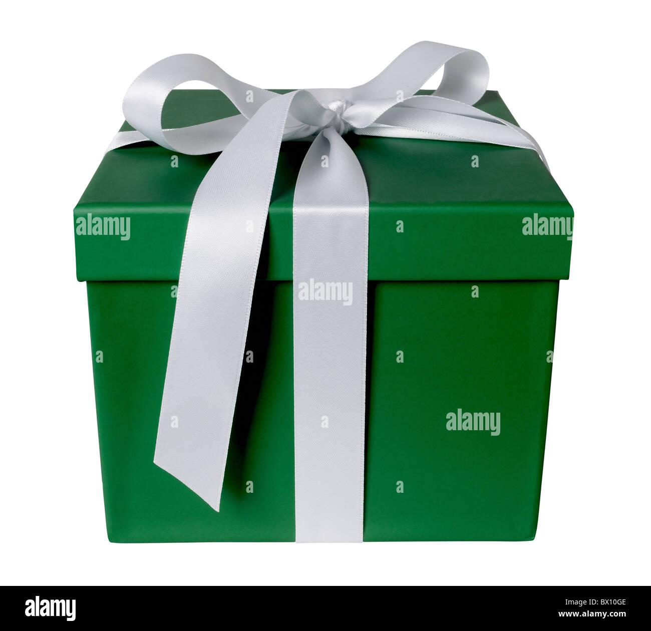 coffret cadeau vert Photo Stock