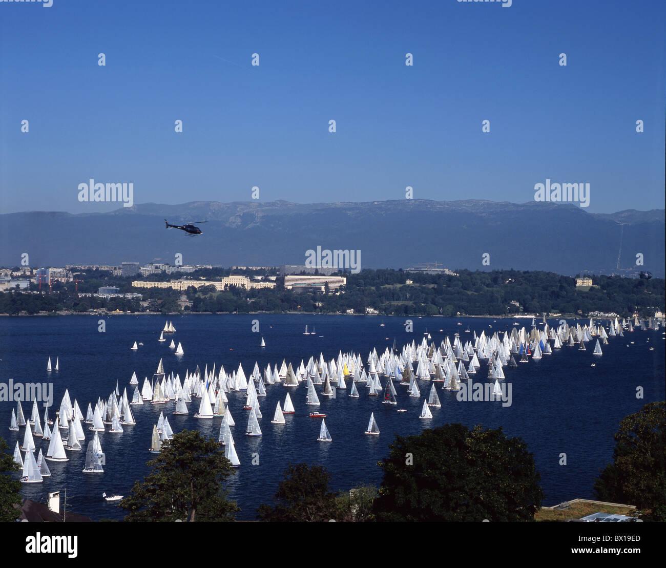 Bol d'embarcations aquatiques ou lac de Genève Genève Lac Leman voile voiles de régate sports Photo Stock