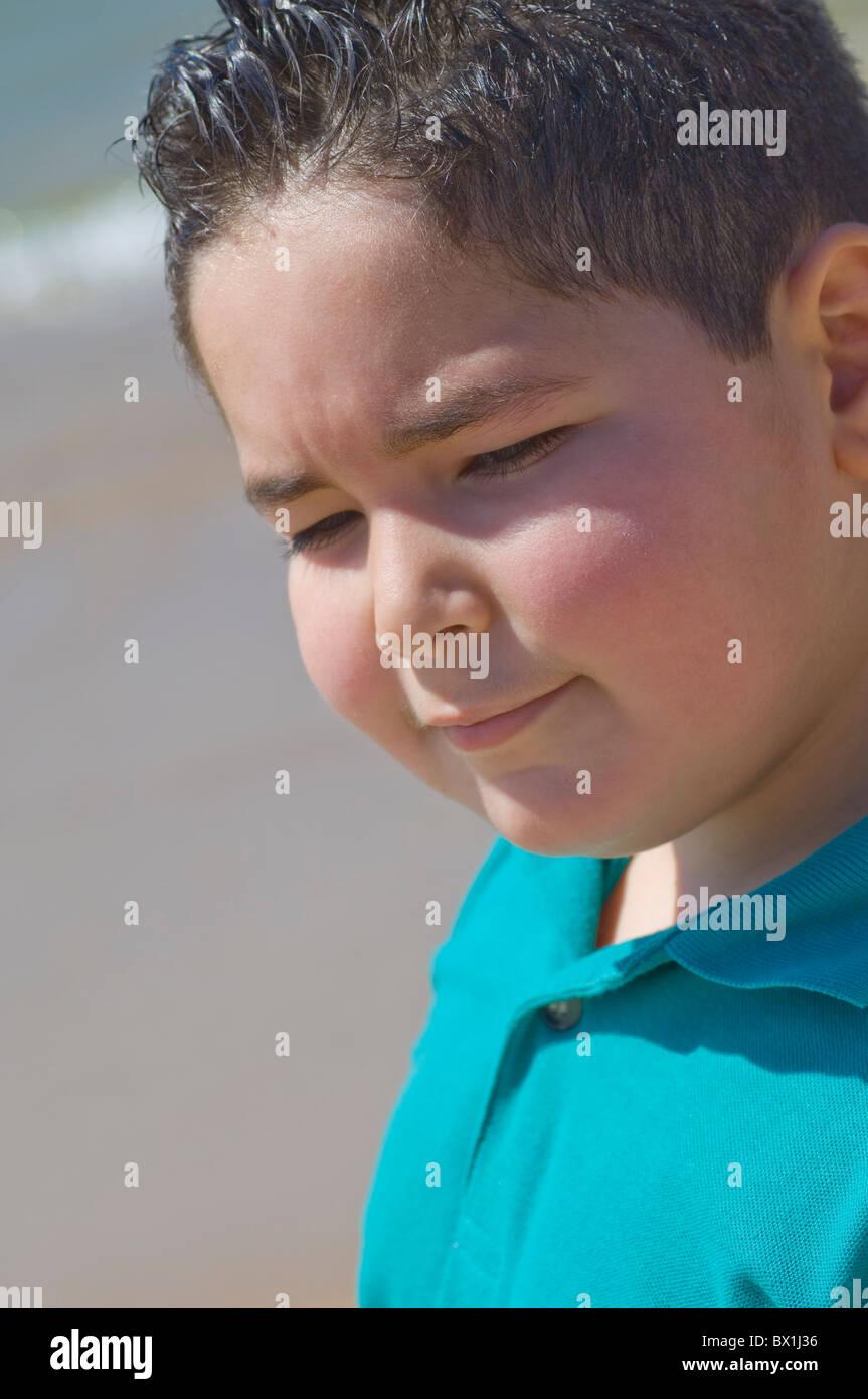 Chubby boy outdoors