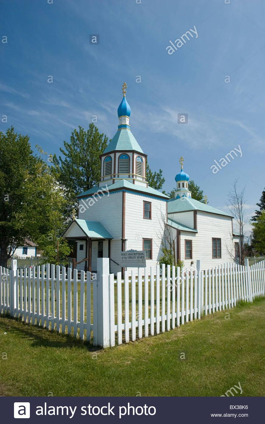 Accession à la Sainte Vierge Marie, l'Eglise orthodoxe russe, 1894-1895, Kenai, Alaska. Photo Stock