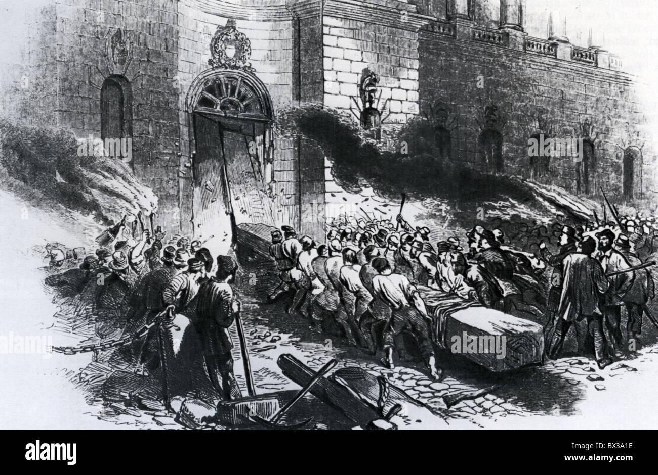 Émeutiers ATTAQUER LE MANÈGE MILITAIRE DE BERLIN 14 JUIN 1848 Photo Stock