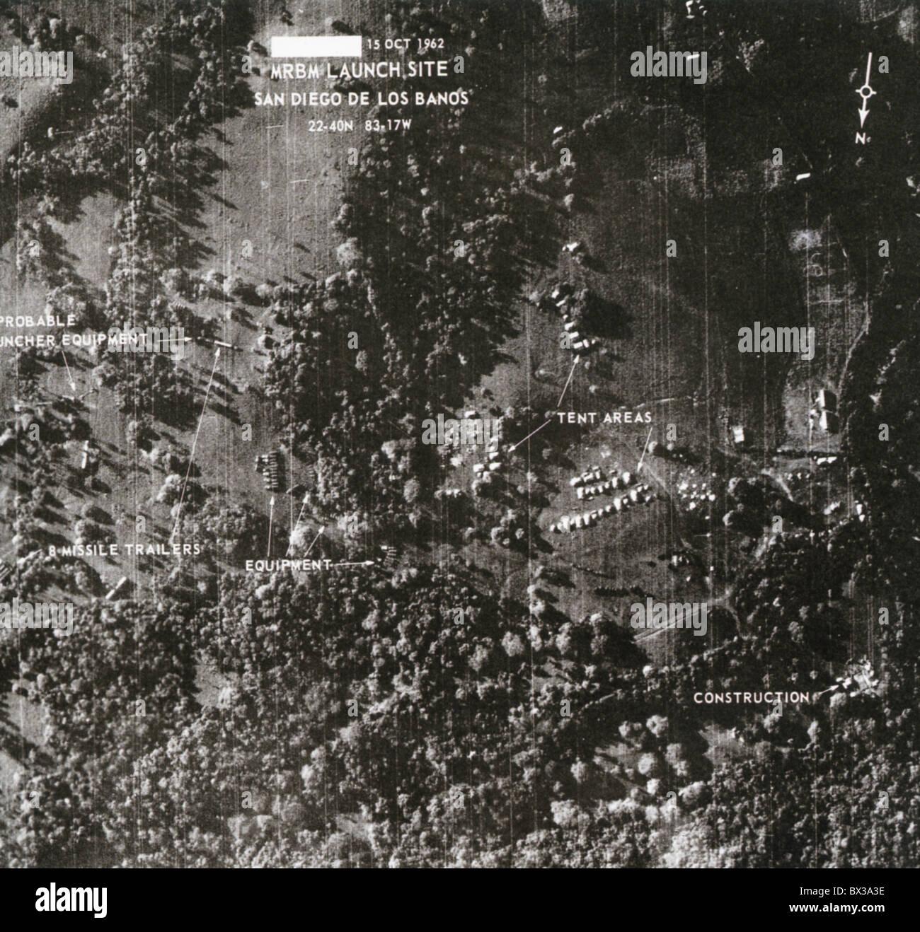 SITE DES MISSILES DE CUBA Le 15 octobre 1962 photo de la CIA à moyenne portée russe site de missiles balistiques Photo Stock