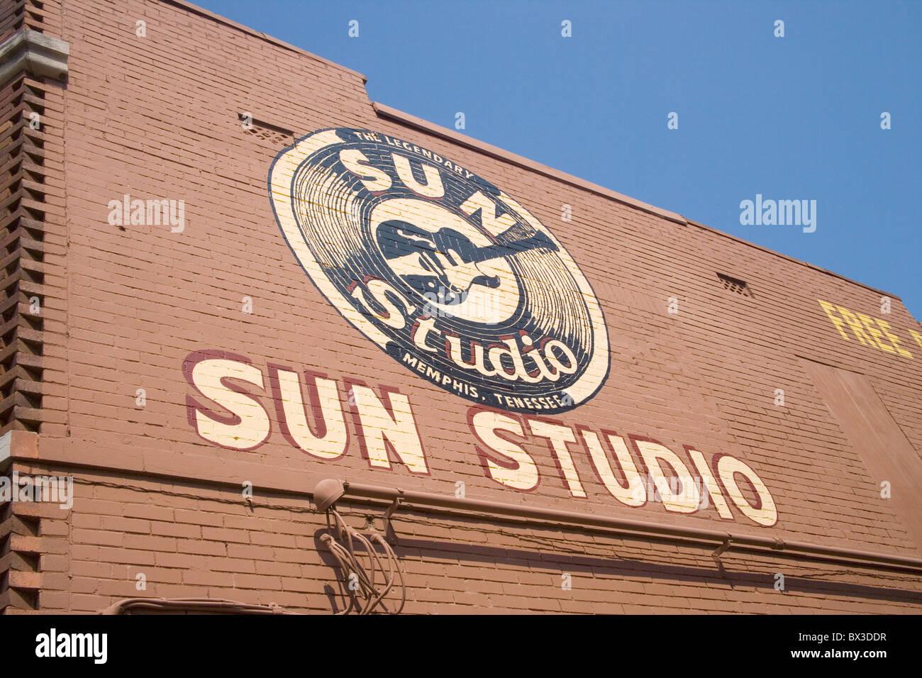 Sun record studios Memphis Tennessee où Elvis a enregistré une grande partie de ses premiers travaux Banque D'Images